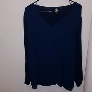 Navy blouse with front mesh overlay